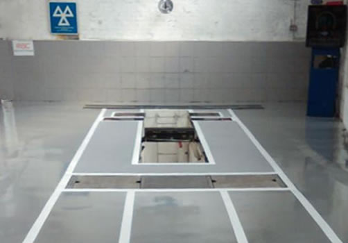 automotive resin flooring MOT bay