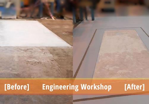 resin floor repairs concrete repairs engineering workshop