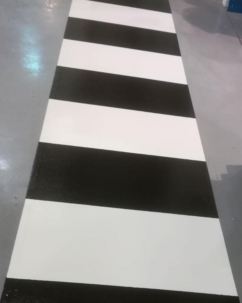 high build epoxy flooring demarcation plastics manufacturer black and white zebra