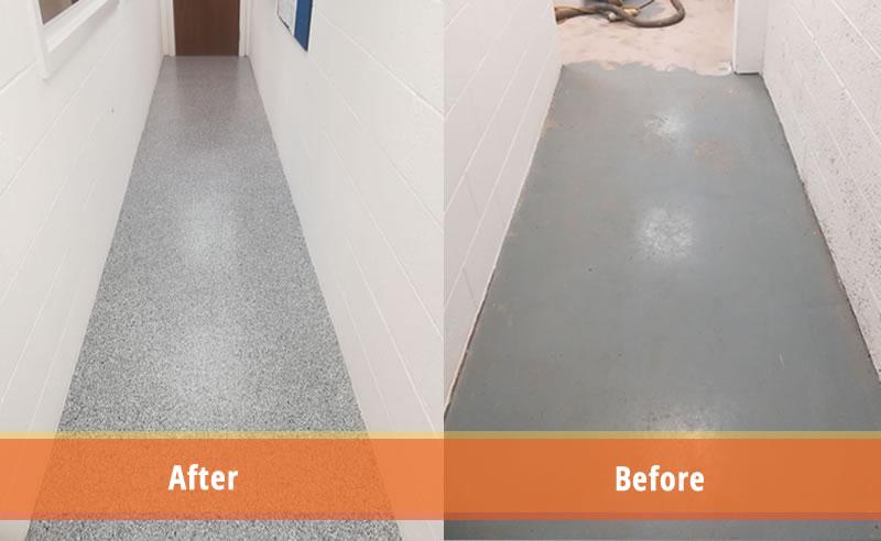 high build epoxy flooring demarcation plastics manufacturer decorative flake