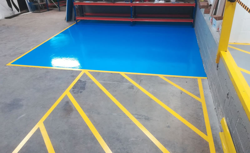high build epoxy flooring demarcation plastics manufacturer resin yellow demarcation chelsea blue