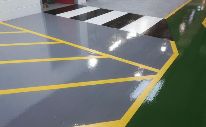 high build epoxy flooring demarcation plastics manufacturer resin yellow demarcation
