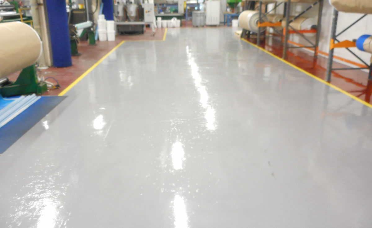 Installing resin flooring at a transmission belt manufacturer