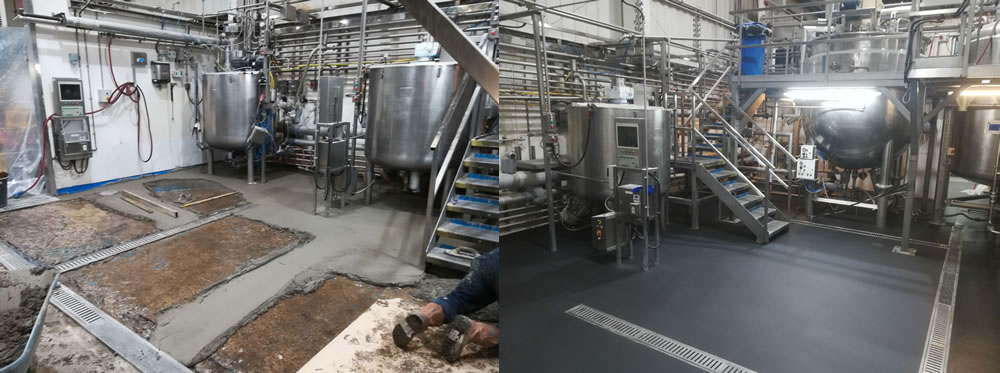 Before and after photo showing preparation works to the concrete before applying resin flooring solution
