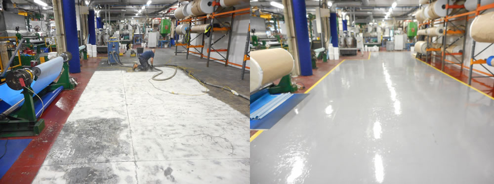 before and after photo installing resin flooring at a transmission belt manufacturer in bingley