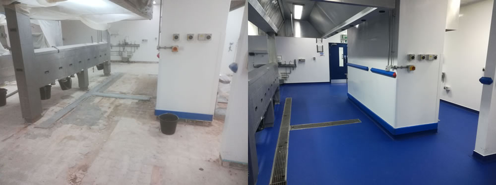 A before and after photo showing preparation work completed and then the installation of heavy duty polyurethane resin flooring