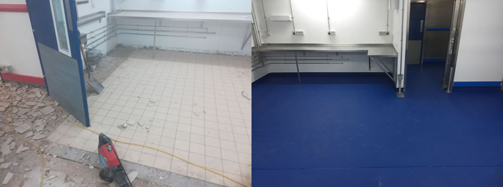 Picture showing before the tiles were removed and completion of the resin flooring that was installed