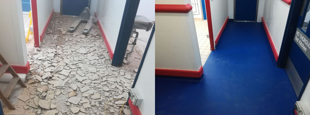 Picture of tiles being removed and a comparison of the completed resin flooring installation in the corridor