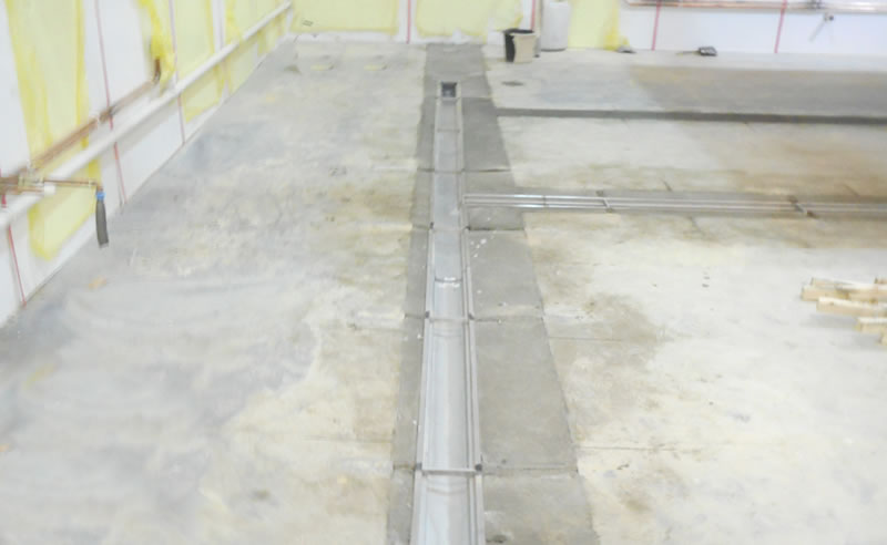 Preparing the concrete floor before installing the heavy duty polyurethane screed