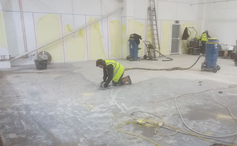 Ongoing works preparing the floor for the resin flooring solution