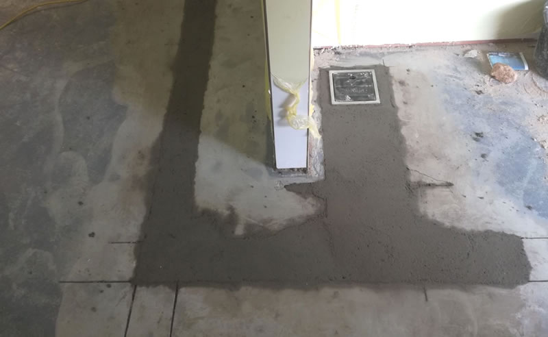 Completed preparation of concrete floor and drainage before applying heavy duty polyurethane screed