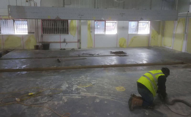 Photo during the preparation of concrete floor