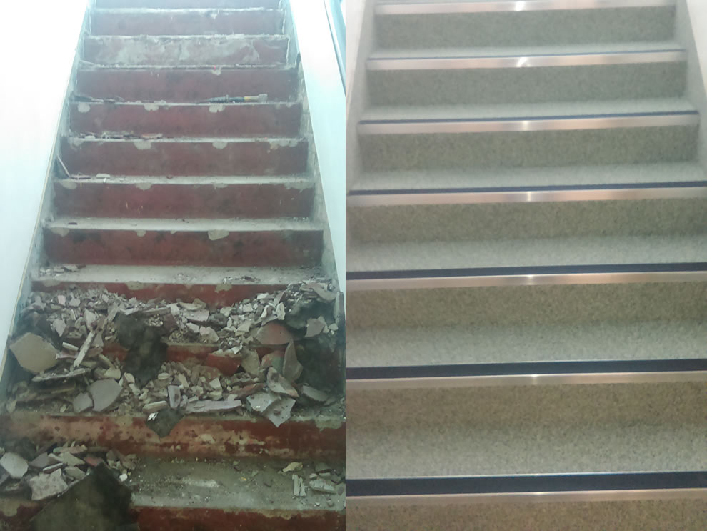 industrial resin flooring using decorative quartz for a staircase