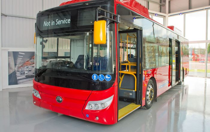 bus flooring with grey colour and red bus