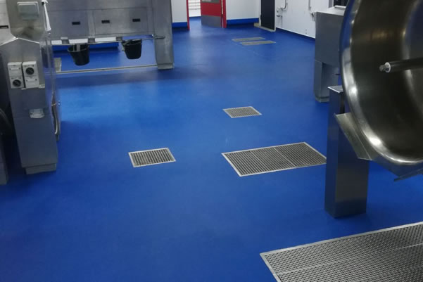 example of a blue polyurethane flooring installation used in a kitchen in sheffield