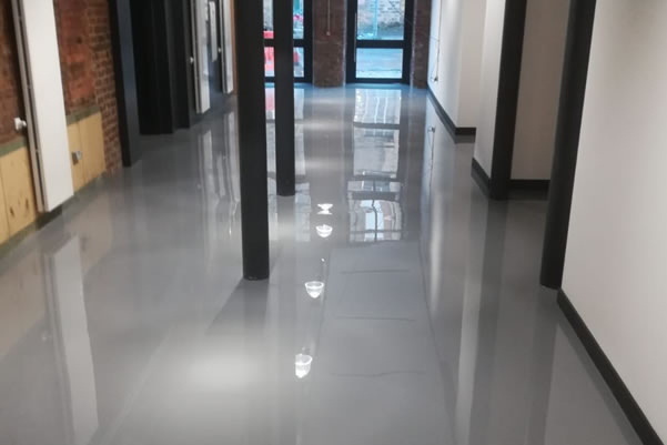 commercial resin flooring in a mill conversion