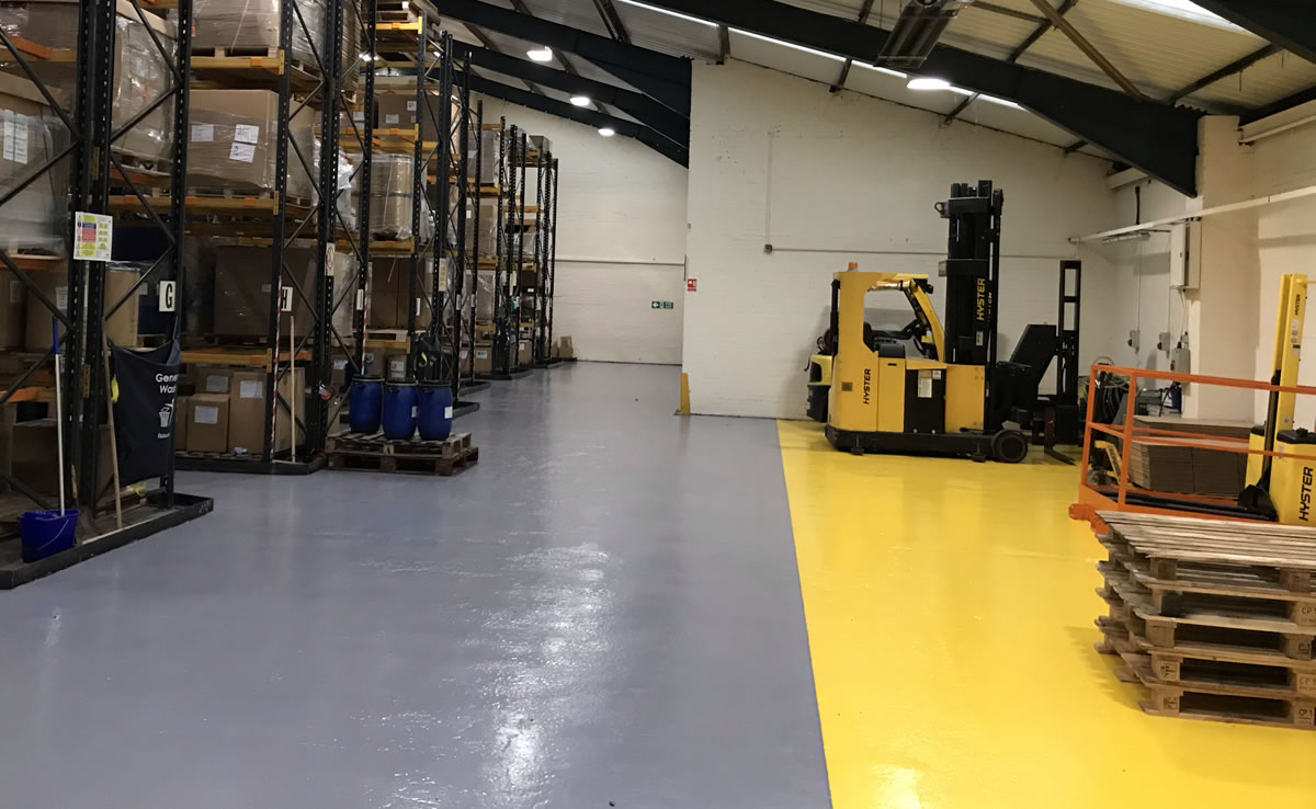 installing demarcation in a chemical warehouse for fork lifts and pallets