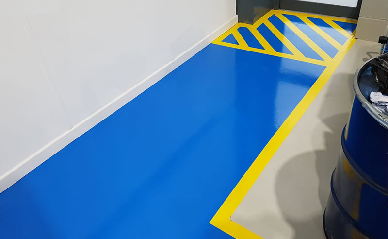 installing demarcation in a warehouse to the fire escape