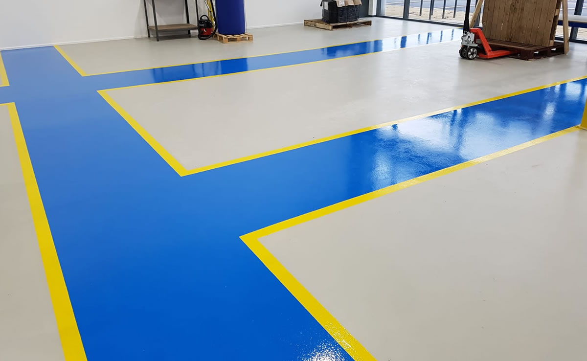 installing demarcation in the warehouse for foot traffic