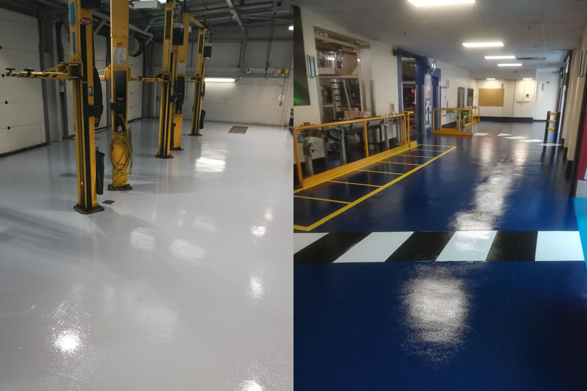 two examples of industrial flooring installations in lancashire