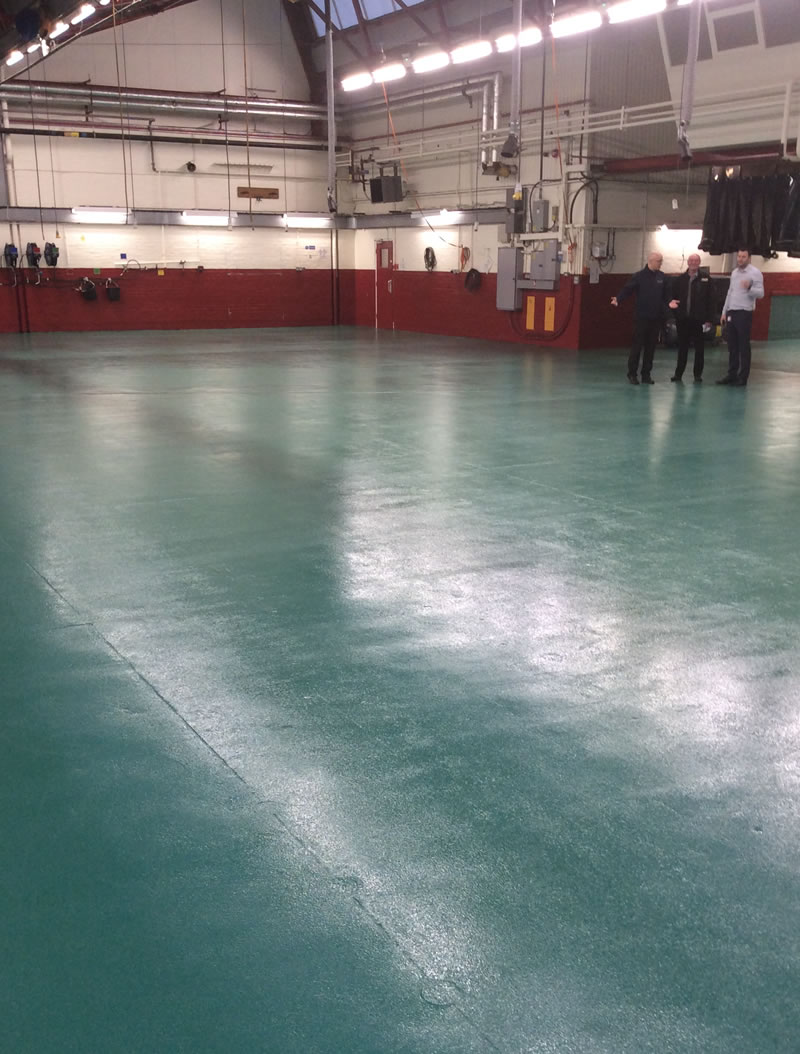 Finished installing an epoxy slip resistant coating to transport workshop before all the equipment was returned