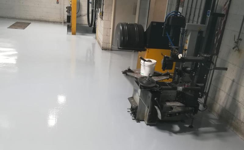completed car garage workshop resin floor refurb at skoda in bradford