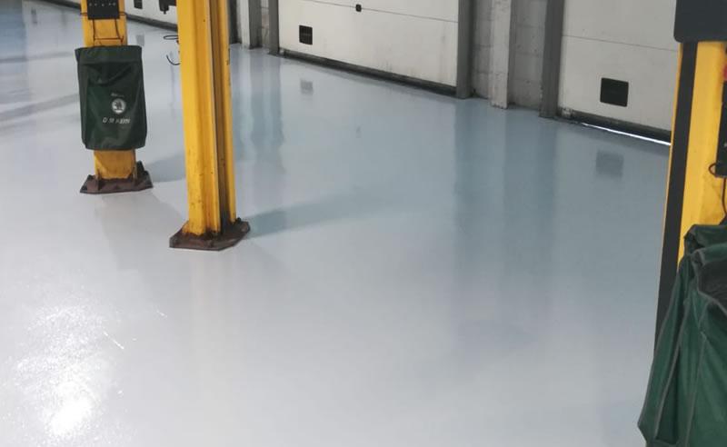 completed car garage workshop resin floor refurb in 3 days at skoda in bradford