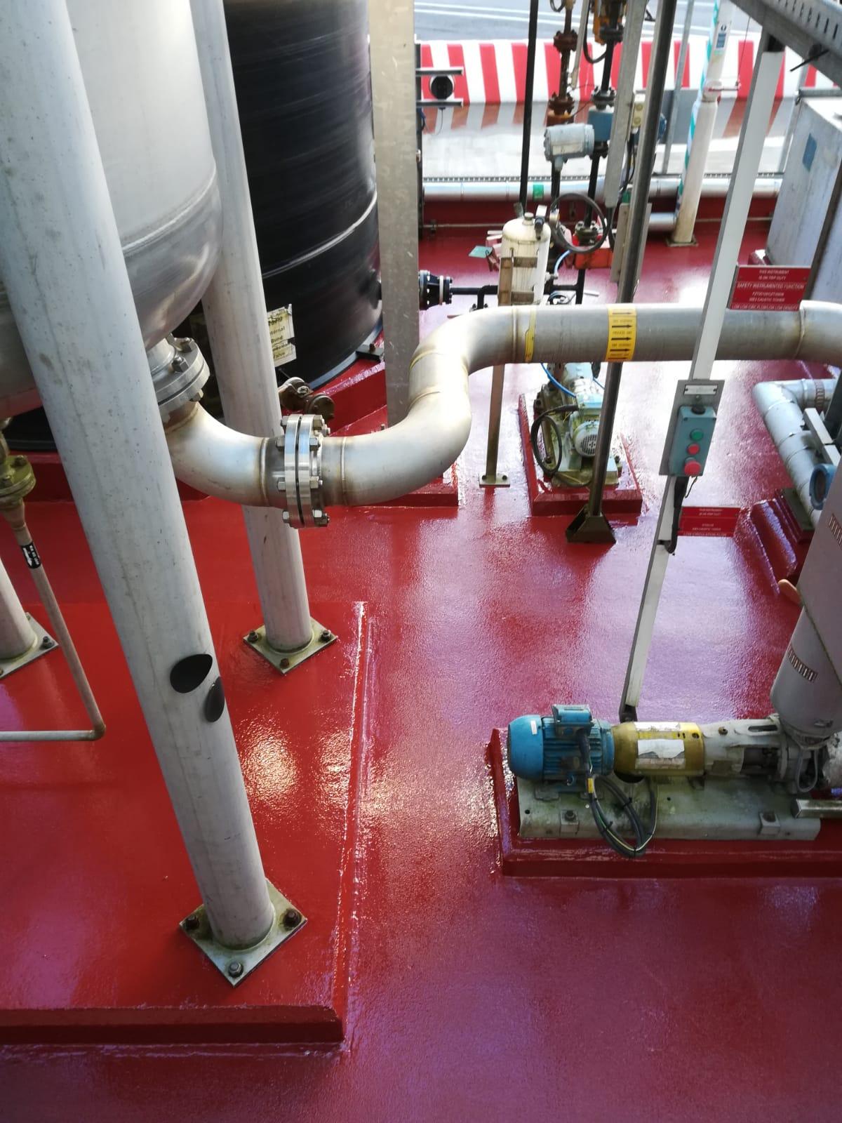 chemical resistant flooring around a bund