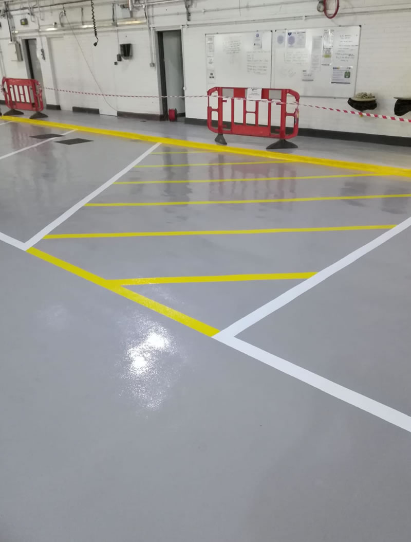 completed resin floor repairs for leeds ambulance hub