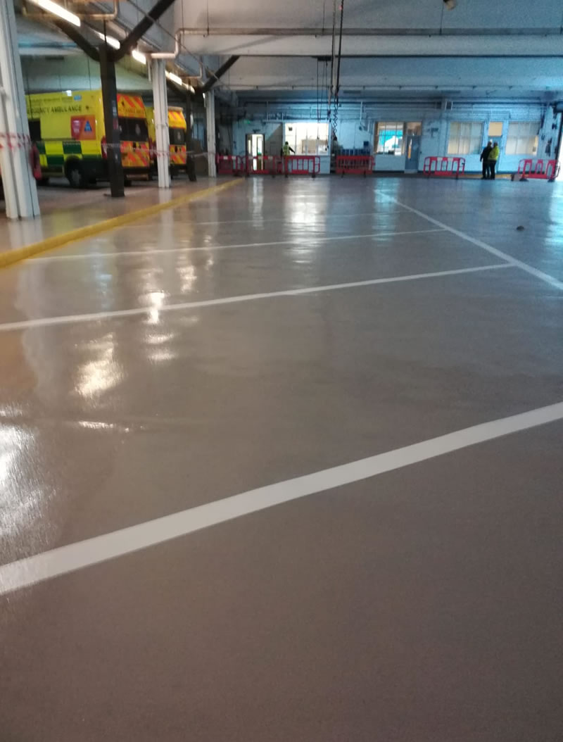 completed resin floor repairs for leeds and huddersfield ambulance hubs