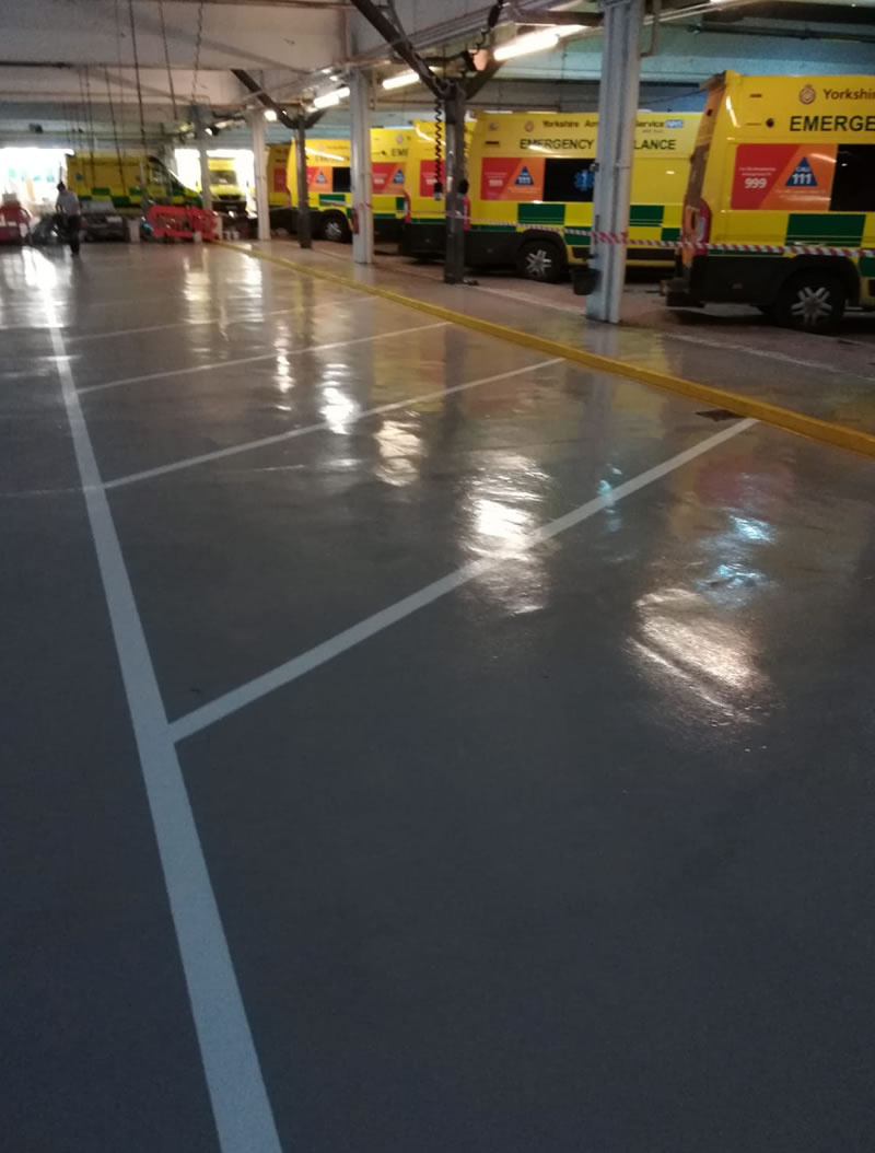 completed resin floor repairs using 2 coats of flowcoat for leeds ambulance hub