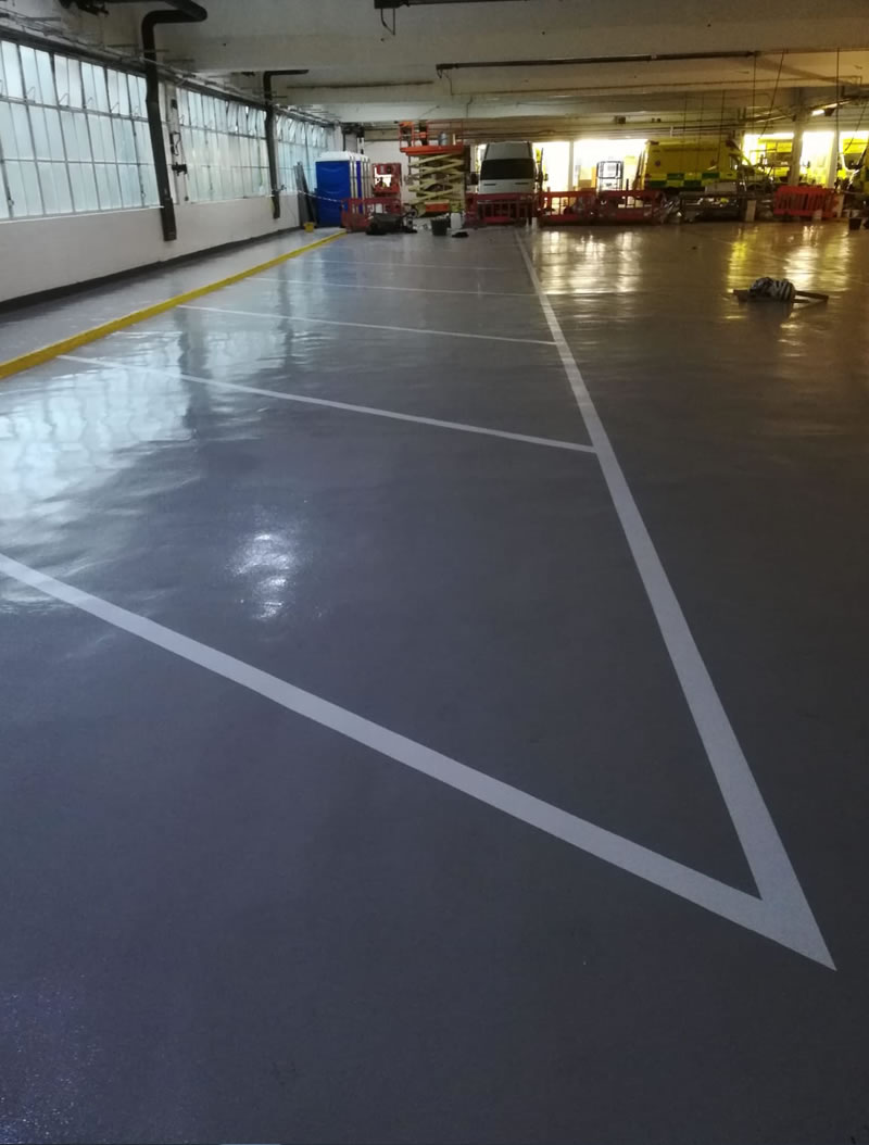 completed resin floor to create a slip resistant profile for leeds ambulance hub