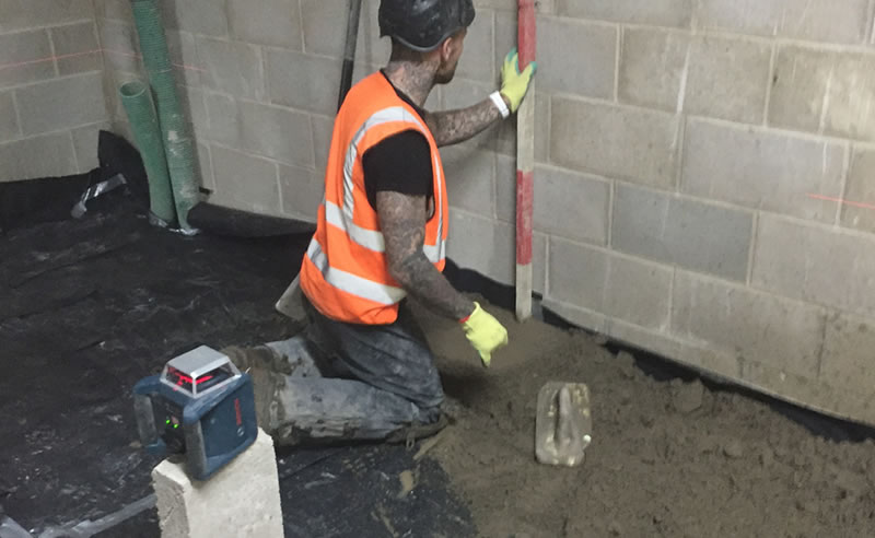 installation of screed in the basement before heavy duty resin flooring at grantley hall ripon