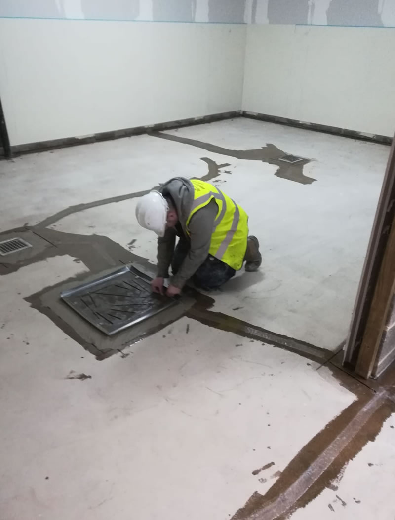 preparing the floor for a heavy pu resin flooring installation at an old mansion in ripon