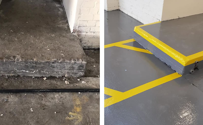 warehouse flooring before and after picture with concrete step