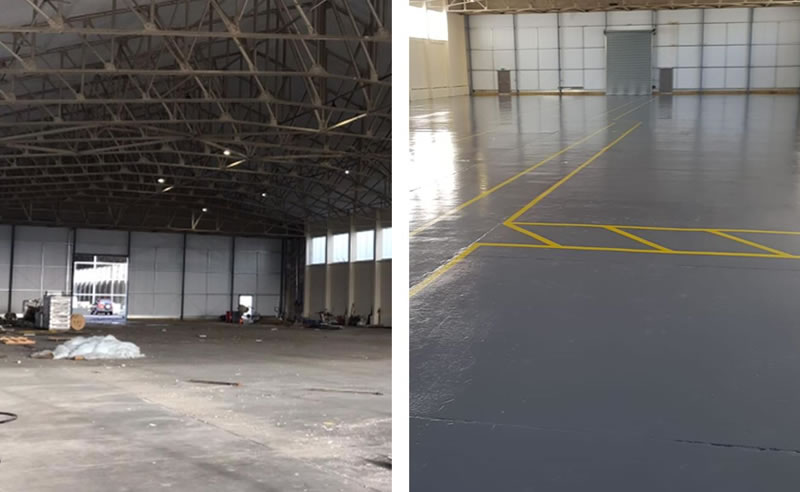 warehouse flooring before and after picture