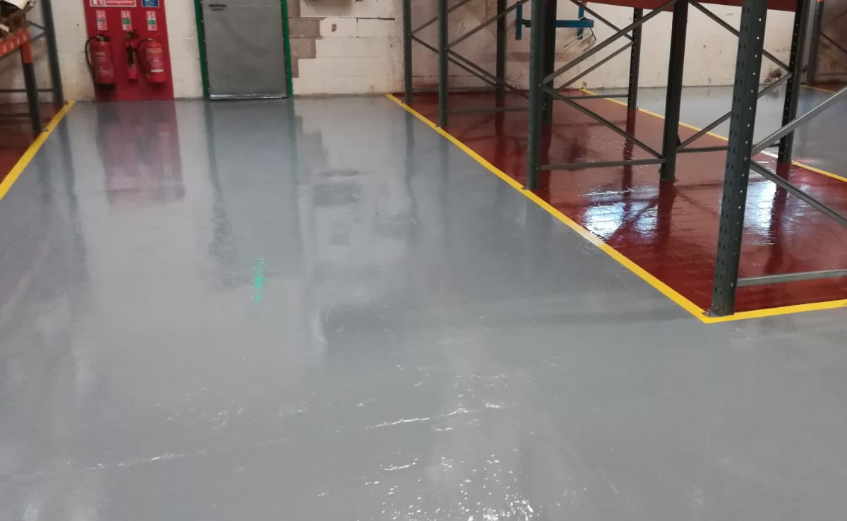 workshop flooring completed with resin