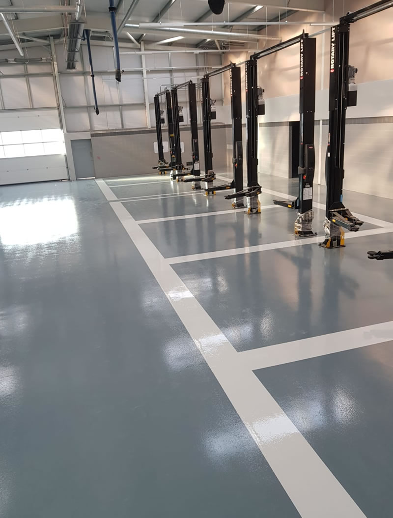chemical resistant flooring with white line demarcation in newcastle upon tyne