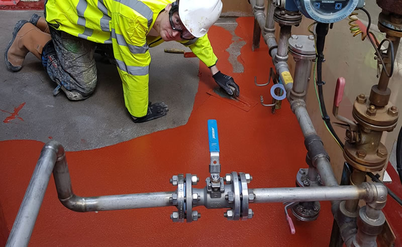 completed works for a bund against chemical spillages