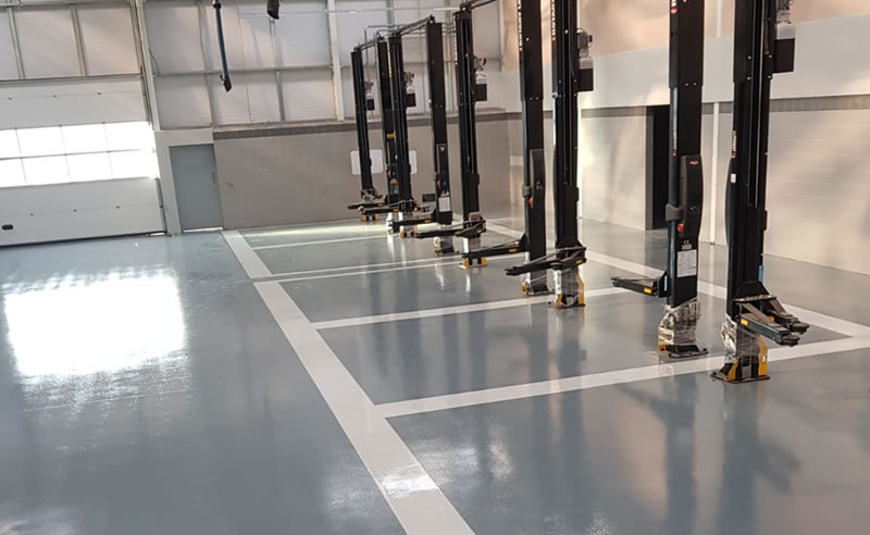 completed automotive flooring project for a new client