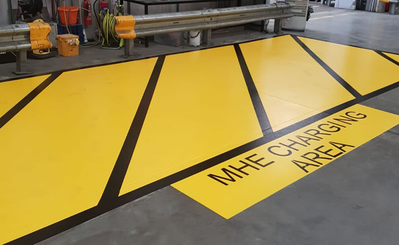 completed line marking for a mhe charging area
