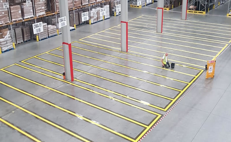 completing line marking in a warehouse in worcestershire