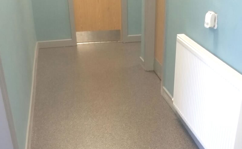 education flooring example in a corridor