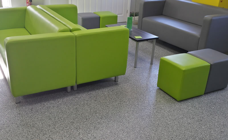 education flooring example in a waiting area