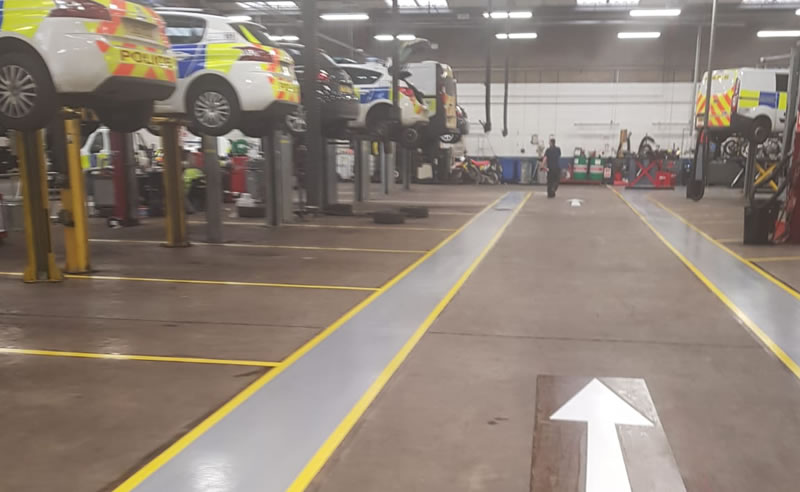 finished demarcation for west yorkshire police vehicle workshop in wakefield