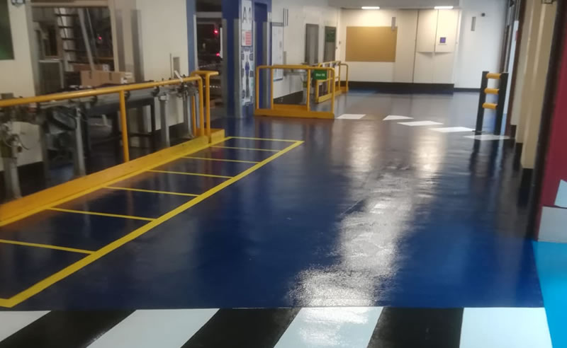 packaging flooring example in a forklift and pedestrian area