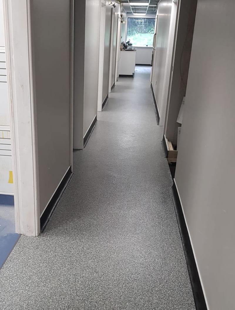new flooring in a corridor at a vets in huddersfield