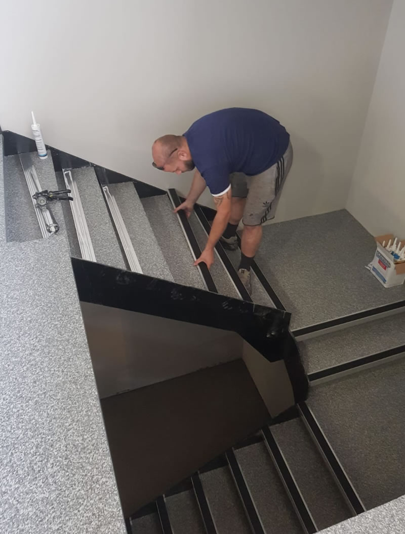 new staircase being fitted at a vets in huddersfield