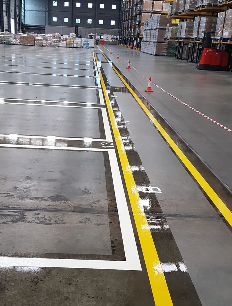 yellow and white lines in a warehouse in doncaster