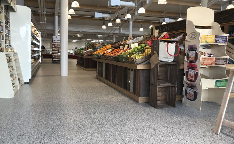 completed decorative flake flooring for a large farm shop